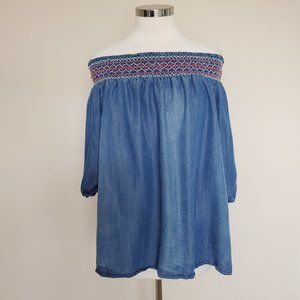 Knox Rose Size XL Blue Elastic Off Shoulder Shirt
